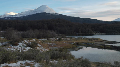 Mountains and forest landscape in Lapataia bay, Tierra del Fuego National Park Live Action
