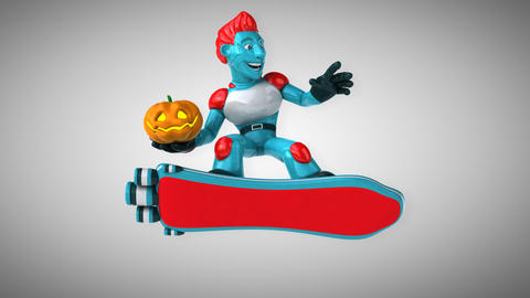 Robot surfing - 3D Animation Animation