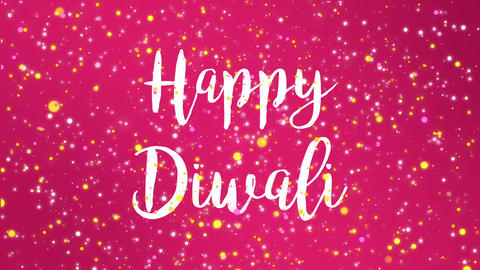 Sparkly bright pink Happy Diwali greeting card video Animation