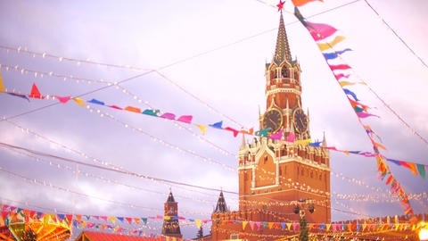 Famous Spasskaya Tower of the Moscow Kremlin behind New Year and Christmas Live Action