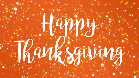 Sparkly orange Happy Thanksgiving greeting card video Animation