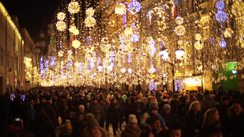 MOSCOW, RUSSIA - JANUARY 3, 2020. Crowded Nikolskaya street in city centre Live Action