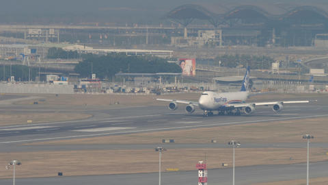 Nippon Cargo boeing 747 departure from Hong Kong Live Action