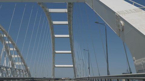 Travel on the suspension bridge. Crimean bridge across the Kerch Strait Live Action