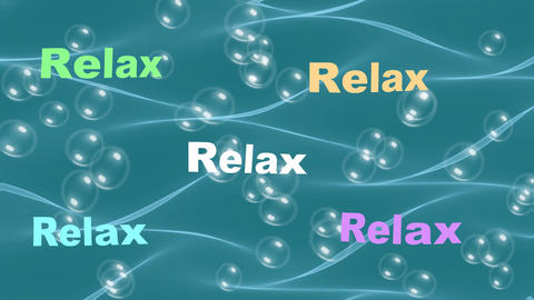 Relax inscription flowing on water waves, air bubbles rising up, beautiful color Animation
