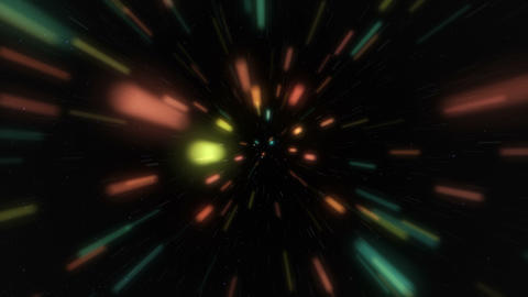 Entering an ultra speed spacewarp made by colorful rays among stars Animation