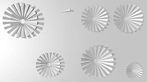Silver minimalist flowers gradually plotted in circular motion on light gray Animation