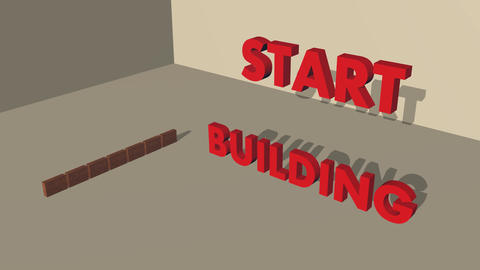 Animation of building a brick wall, inscription Start building, 3d video Animation