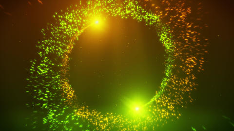 Orange Green Particles Spiral Circles with Trail Intro Logo Background Animation