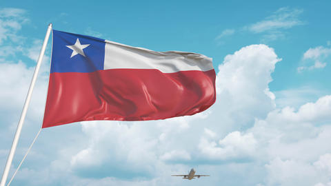 Plane arrives to airport with flag of Chile. Chilean tourism Live Action