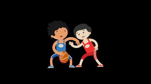 Cartoon boy character playing basketball Animation