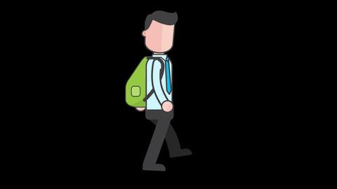 Cartoon business man walk cycle Animation