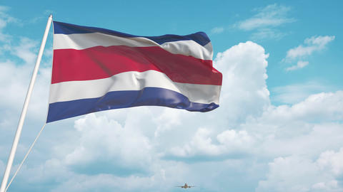 Plane arrives to airport with national flag of Costa Rica. Costa Rican tourism Live Action