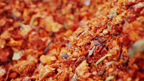motion over fresh aromatic mixed red spices pile macro Live Action