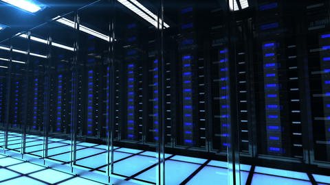 Seamlessly looping animation of rack servers in data center Animation