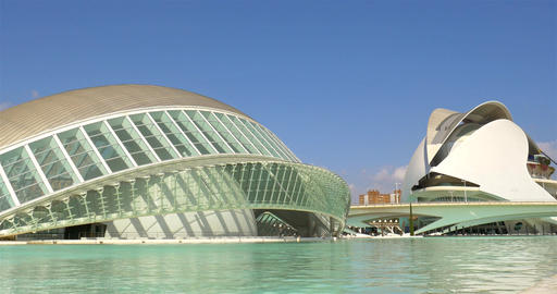 Hemispheric and Reina (Queen) Sofia Palace of Arts of City of Arts and Sciences Footage