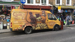 Fruit and vegetable delivery van Portobello Road Notting Hill Gate London UK Footage