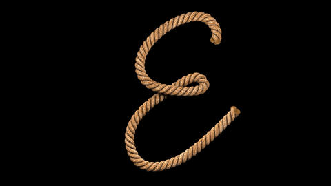 3d animated rope text typeface with separate alpha channel E Videos animados