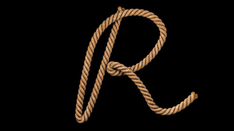 3d animated rope text typeface with separate alpha channel R Animation
