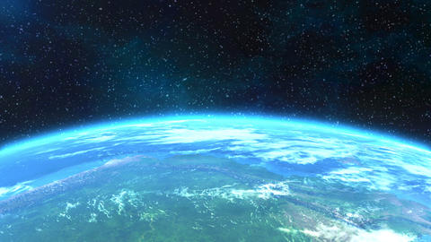 Spectacular horizontal close-up view of the Earth Animation