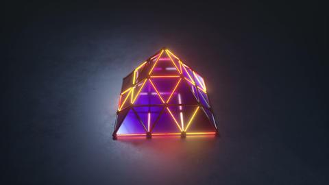 Flickering illuminating pyramid 3D render seamless loop animation Animation