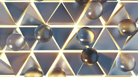 Soft spheres and triangles 3D render animation Animation