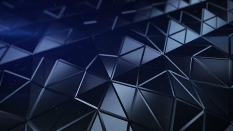 Pyramidal blue surface futuristic polygonal shape 3D render seamless loop Animation