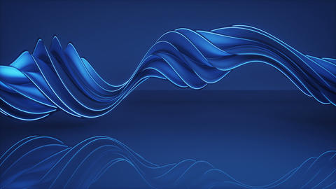 Glowing blue twisted spiral shape spinning seamless loop 3D render animation Animation