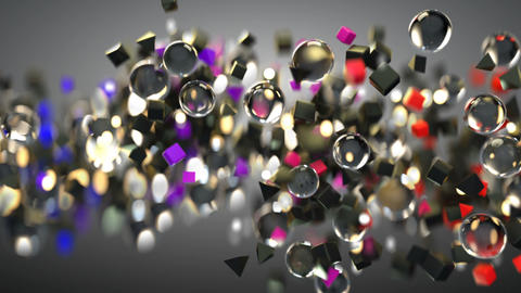 Glass spheres and colorful primitives seamless loop 3D render animation Animation