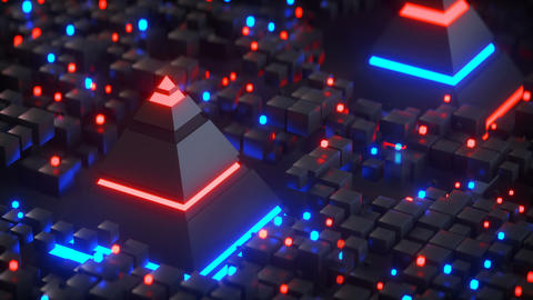 Pyramids and nformation blocks in cyberspace seamless loop 3D render animation Animation