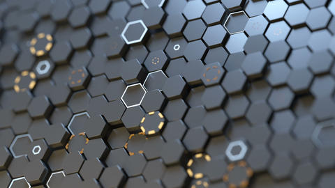 Futuristic surface with hexagons seamless loop 3D render… Stock Video Footage
