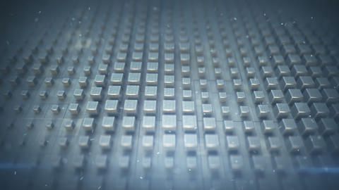Metallic cubes on techno plate seamless loop 3D render animation Animation