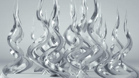 Growing glossy white spiral shapes 3D render animation Stock Video Footage