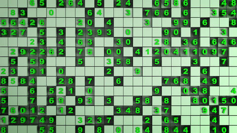 Green cubes and numbers seamless loop 3D render animation Animation