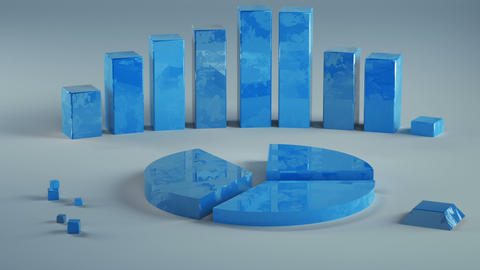 Growing economic blue chart graphs 3D render animation Animation