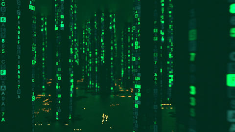 Rain of green computer code in cyberspace seamless loop 3D render animation Animation