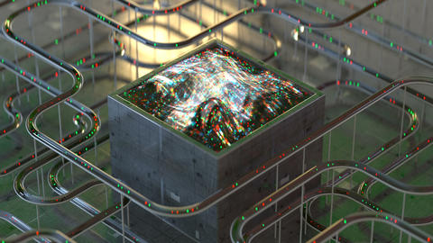 Cube and tubes with lights seamless loop 3D render animation Animation