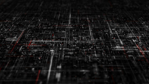 High detailed complex white and red technology grid loopable 3D render animation Animation