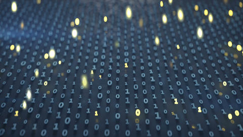 Binary code matrix with glowing symbols seamless loop 3D render animation Animation