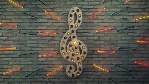 Clef musical note decoration on wall 3D render seamless loop animation Animation