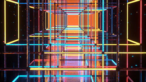 Corridor with shining neon disco style cubes seamless loop 3D render animation Animation
