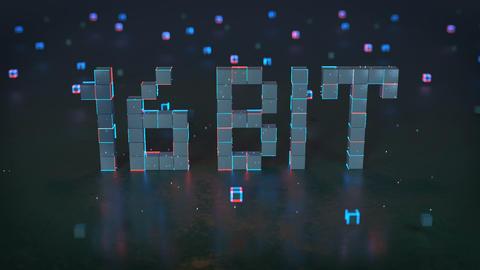 Pixelated text 16 bit on reflective floor seamless loop 3D render animation Animation