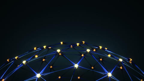 Plexus network structure with glowing nodes loopable 3D render Animation