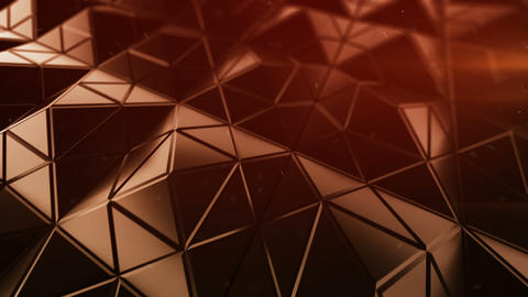 Futuristic polygonal red shape in dynamic light 3D render loopable animation Animation