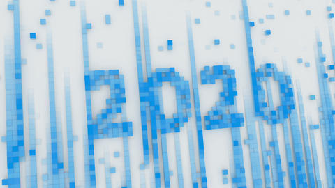 Blue text 2020 in pixel art 3D render animation Animation