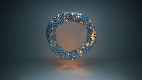 Twisted circle of glowing spheres loopable 3D render animation Animation
