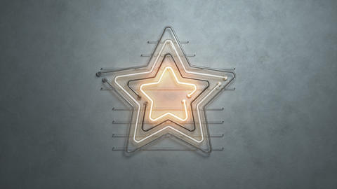Neon light star symbol on concrete wall 3D render seamless loop animation Animation