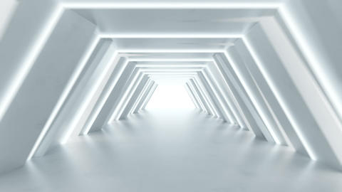 Sci-fi passageway with fluorescent lights 3D render seamless loop animation Animation