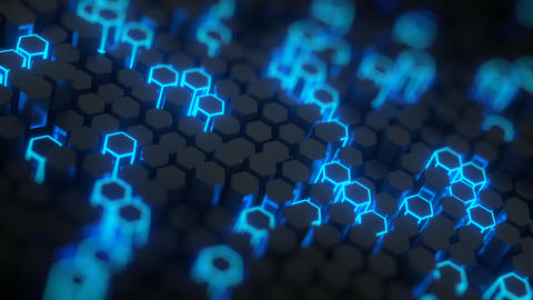 Futuristic honeycomb structure 3D render with DOF seamless loop Animation