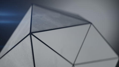 Polygonal shape with grunge surface loopable 3D render Animation